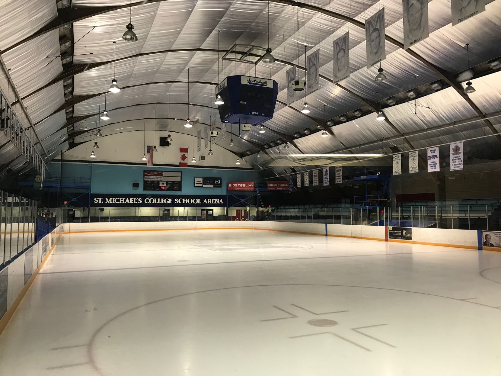 St. Michael's College School is an all-boys school in Toronto that has a rich hockey history and through the double-doors on the far end of the rink houses Nichol's gym.