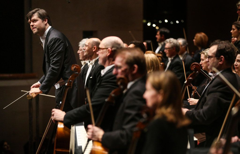 Guest conductor Juraj Valcuha takes a bow with the Dallas Symphony Orchestra's performance at the Meyerson Symphony Center on March 7.