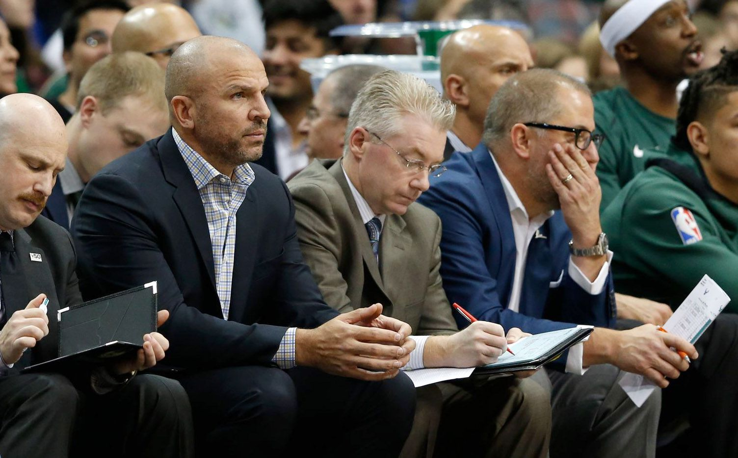 Milwaukee Bucks head coach Jason Kidd watches the game against the Dallas Mavericks during the first half of play at American Airlines Arena in Dallas on Saturday, November 18, 2017.