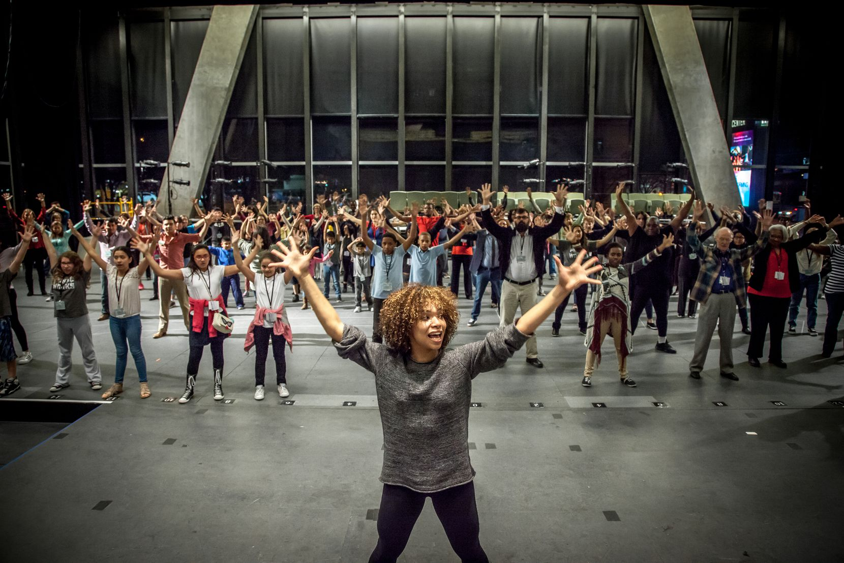 Assistant choreographer Mayte Natalio rehearses with the cast of 'The Tempest,' the launch of Dallas Theater Center's Public Works Dallas program. The show will feature a cast of 200, most of them non-actors from the Dallas community. The show will be presented March 3-5 at the Wyly Theatre in the AT&T Performing Arts Center in Dallas.