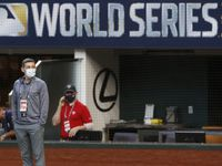 Tampa Bay Rays president Matthew Silverman on the field during batting practice before game one of the World Series against the Los Angeles Dodgers at Globe Life Field on Monday, October 20, 2020 in Arlington, Texas. (Vernon Bryant/The Dallas Morning News)