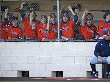The Wakeland dugout cheers during the fifth inning as Heritage High School hosted Wakeland High School in a district 9-5A baseball game held at Independence High School in Frisco on Friday, March 26, 2021.  (Stewart F. House/Special Contributor)