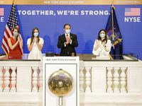 New York Gov. Andrew Cuomo rang the opening bell to mark the historic reopening of NYSE trading floor on Tuesday.