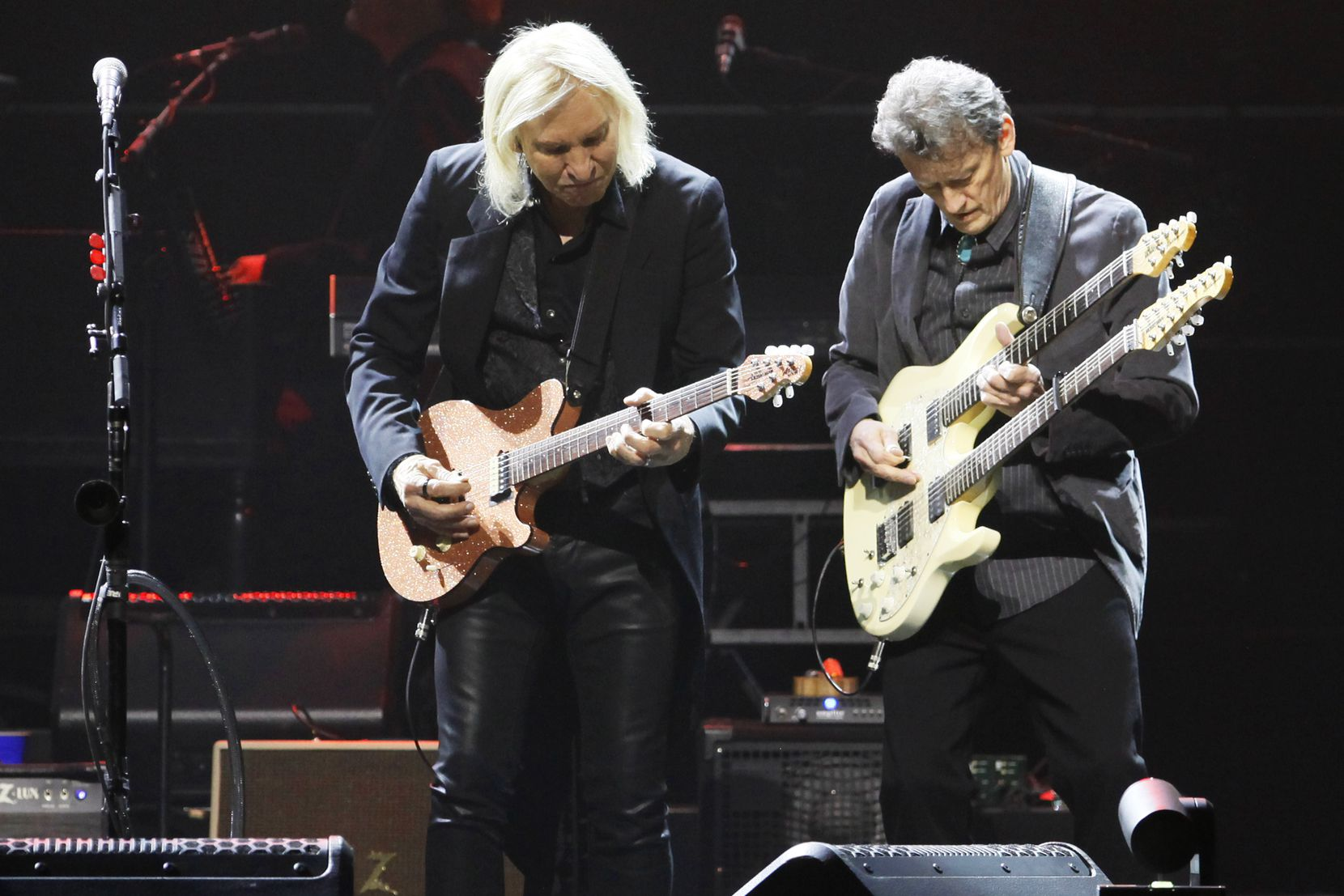 Members of the American rock band the Eagles performs at the American Airlines Center in Dallas, Saturday night Feb. 29, 2020.