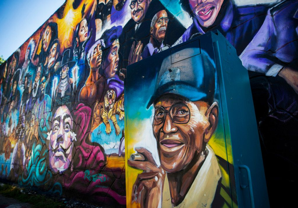 Richard Overton has a spot in a mural at the corner of 12th and Chicon streets in Austin.
