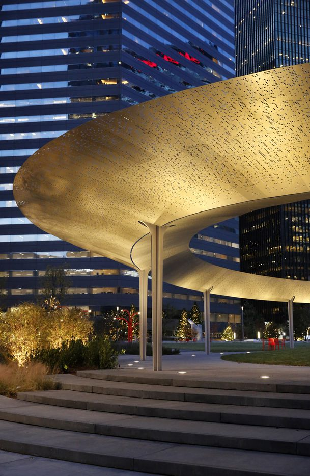 One of the most unique elements in Pacific Plaza is The Pavilion, a floating 95-by-138-foot ovoid structure of stainless steel.