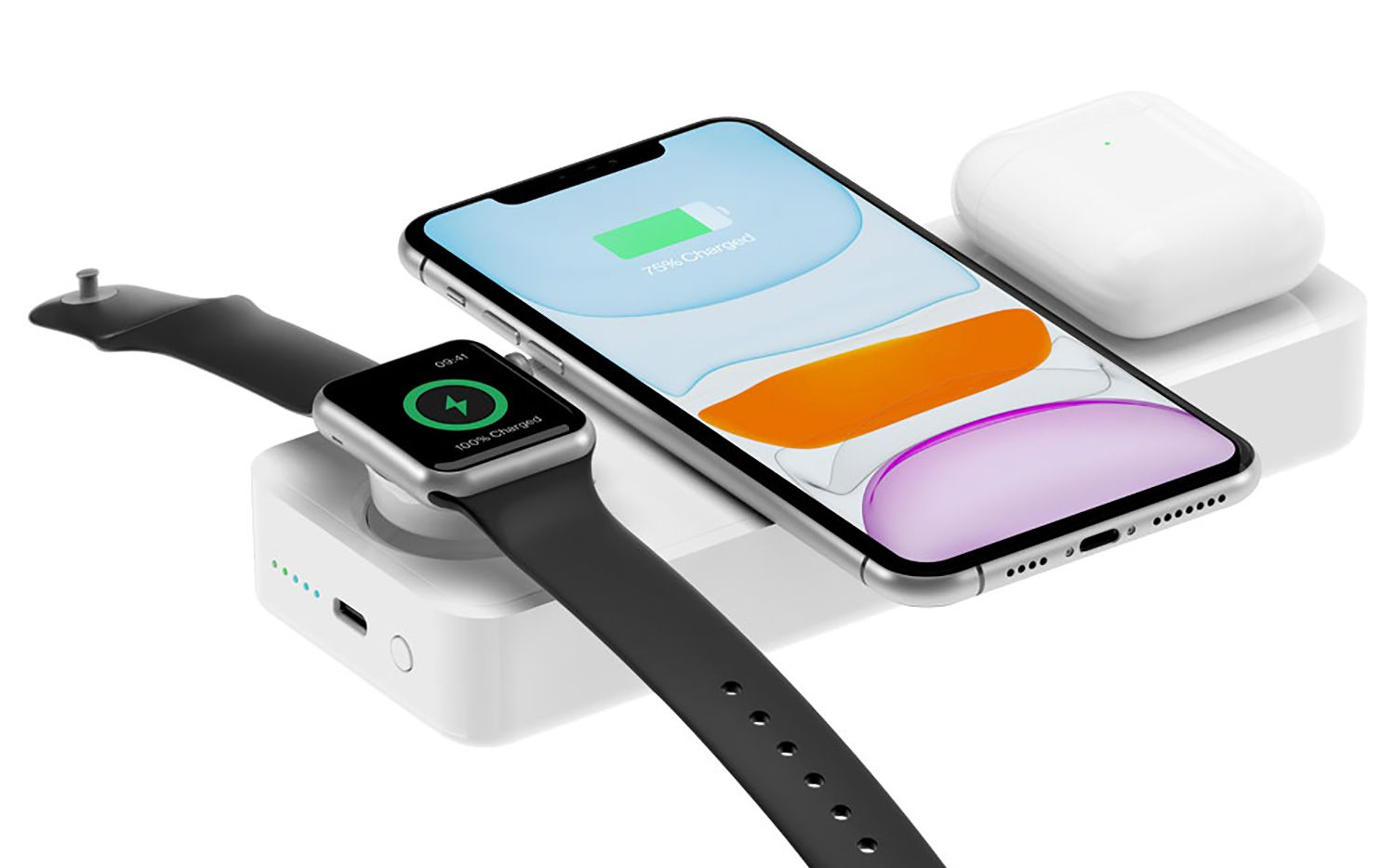 The Eggtronic Power Bar has two wireless charging spots, plus an Apple Watch charger and a USB-C port to charge a MacBook Pro.
