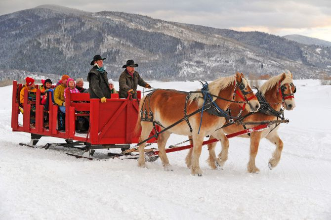 Try to plan at least some activities that all ages can do together. At Steamboat, in Colorado, you can book a sleigh ride with dinner.