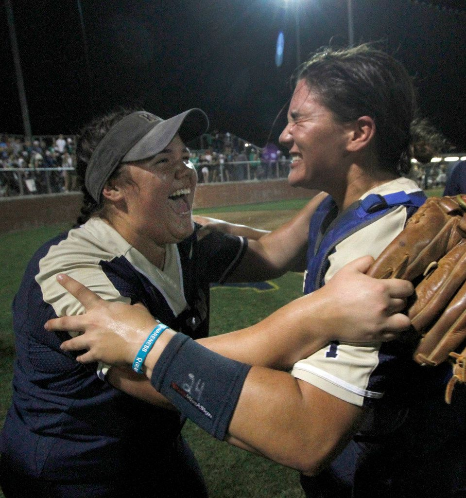 Keller's battery was fully charged as pitcher Dylann Kaderka (22), left, and catcher Hayden Brown (24) revel in the moment following their 6-5 victory over Northwest Eaton to sweep the final series and stamp their ticket to the state tournament. The two teams played Game 2 of a best-of-3 Class 6A Region l softball final series at Flower Mound High School in Flower Mound on May 23, 2019. (Steve Hamm/ Special Contributor)