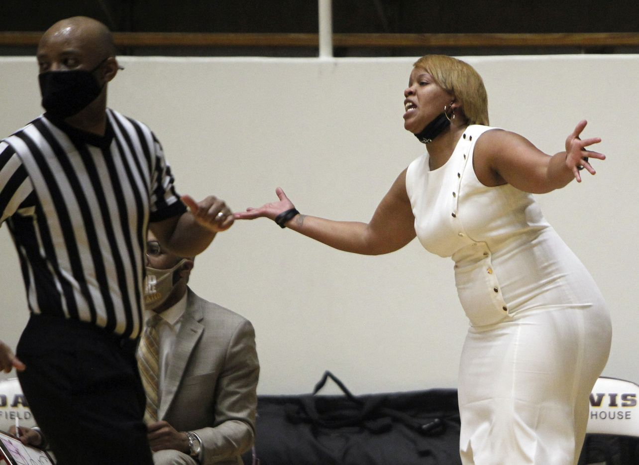 Plano East head coach Jessica Linson reacts to a play during first half action against Southlake Carroll. Plano East won 56-42 to advance. The two teams played their Class 6A regional semifinal girls playoff basketball game at Loos Field House in Addison on February 27, 2021. (Steve Hamm/ Special Contributor)