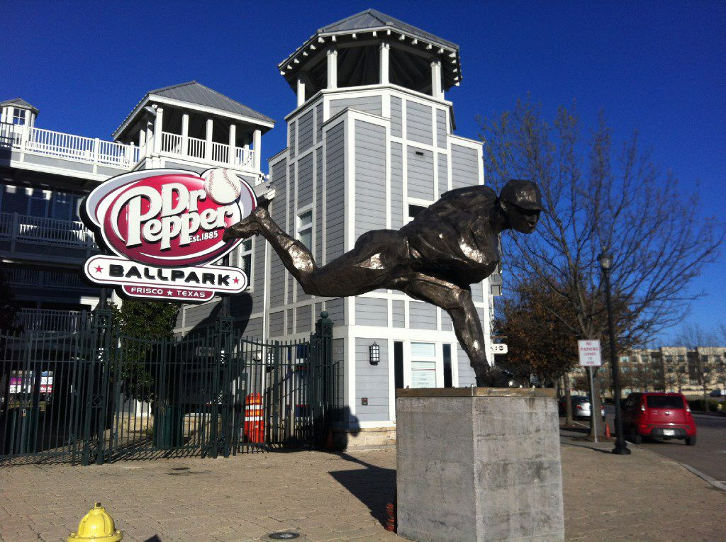 This is the main entrance to Dr Pepper Ballpark in Frisco, which is home to the Frisco RoughRiders minor league baseball team.