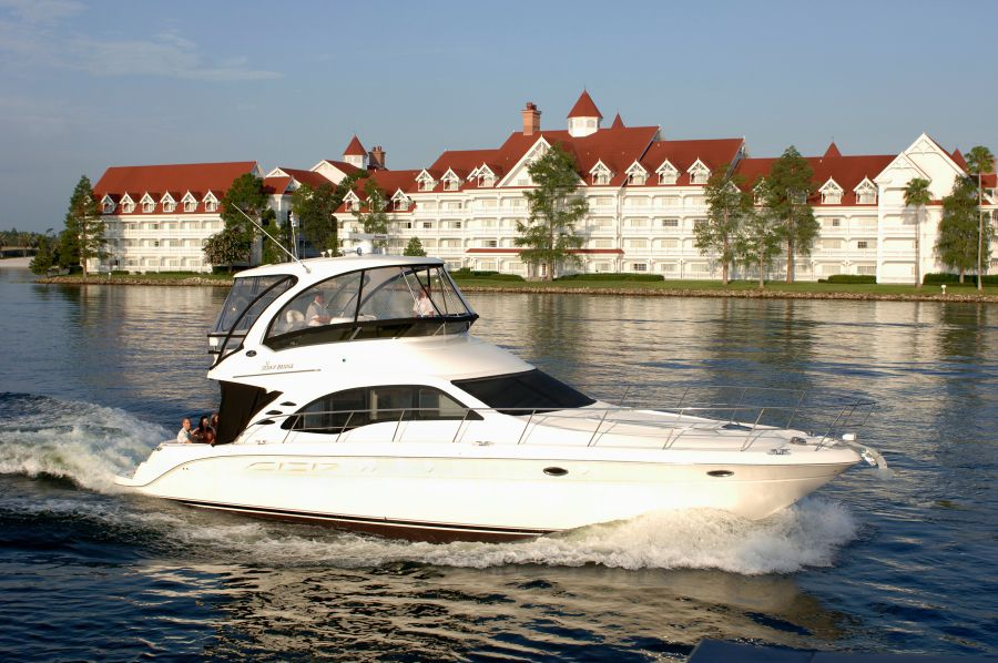 For $399 per hour, you and up to 17 guests can cruise Disney's Seven Seas Lagoon and Bay Lake aboard the Grand 1 — a 52-foot Sea Ray yacht. The cost rises to $799 per hour at night, when you can catch the fireworks.
