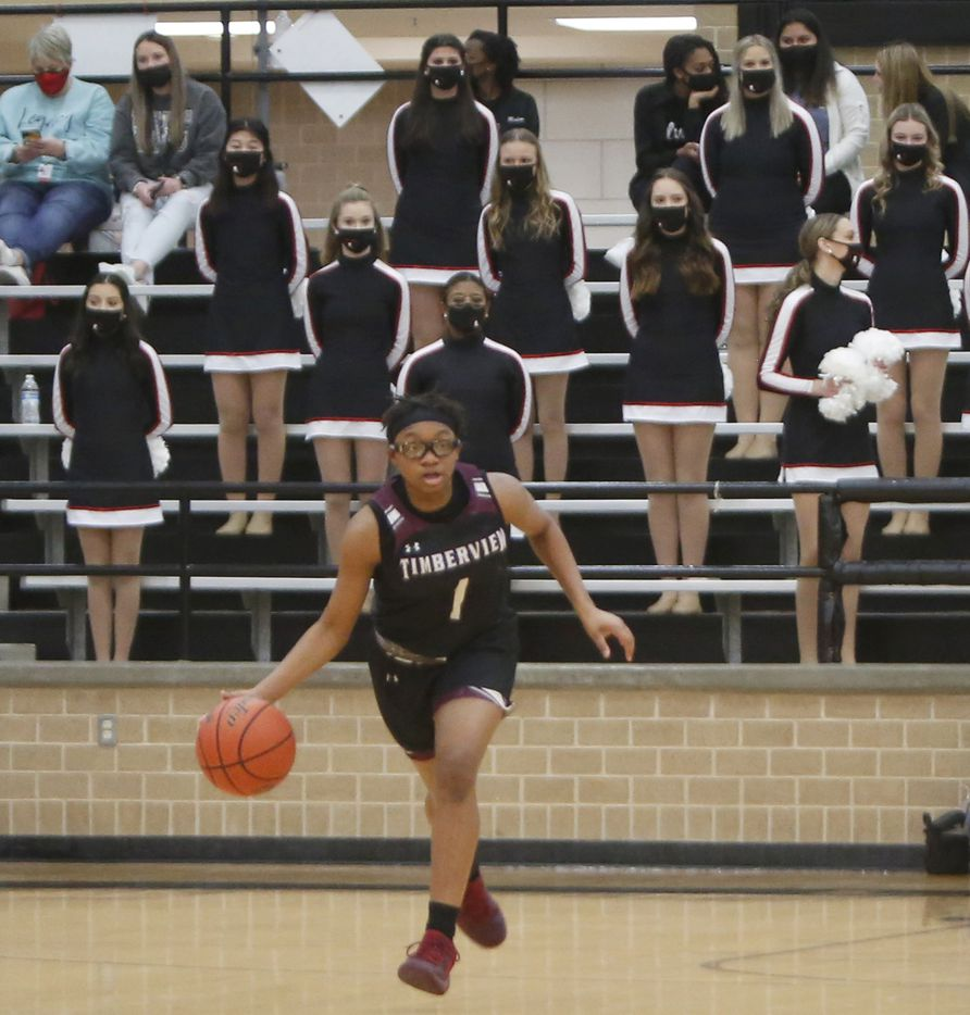 Mansfield Timberview's Tamaiya Mims (1) dribbles the ball toward mid-court during first half action against Mansfield Legacy. The two teams played their District 8-5A girls basketball game at Mansfield Legacy High school on January 22 , 2021. (Steve Hamm/ Special Contributor)