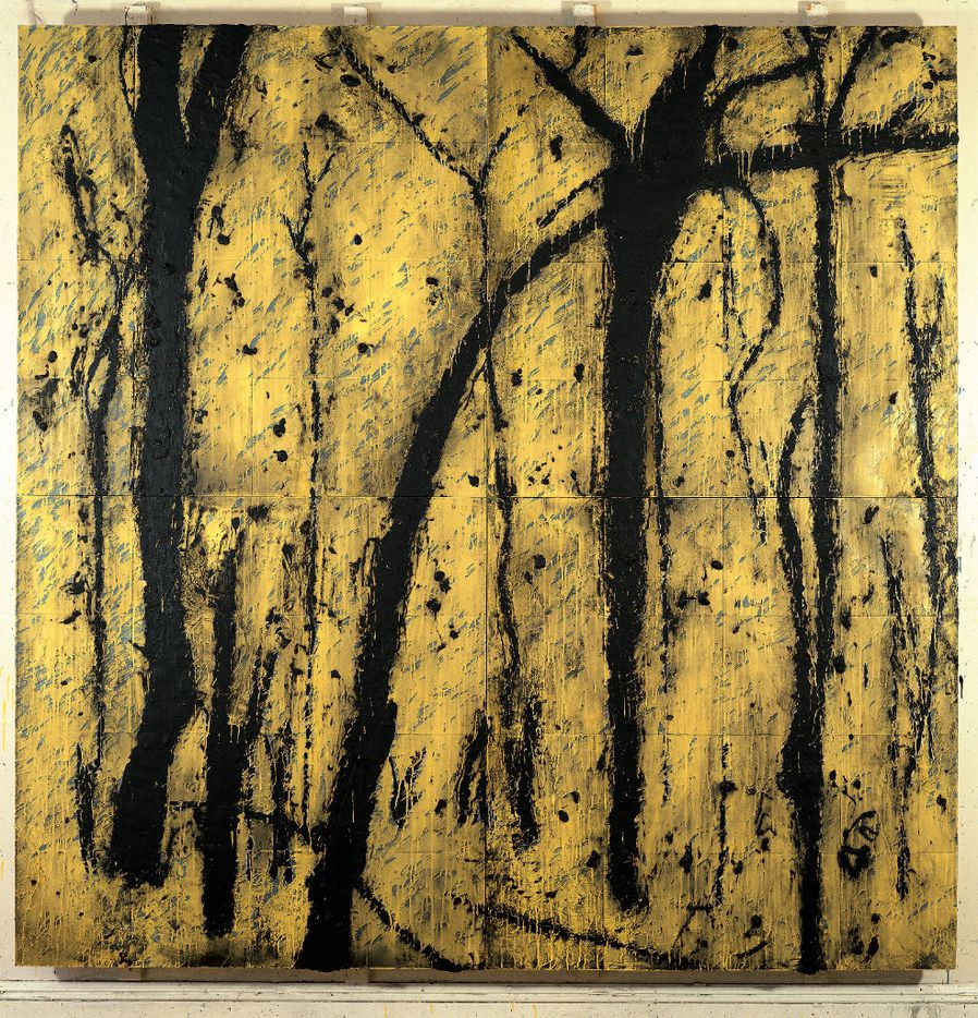 """Donald Sultan  """"Yellowstone, Aug. 15 1990,""""  1990  Latex and tar on tile over Masonite  96 x 96 inches  Private collection, New York   Part of the """"Donald Sultan: Disaster Paintings"""" series on display at the Modern Art Museum of Fort Worth. DS-65"""