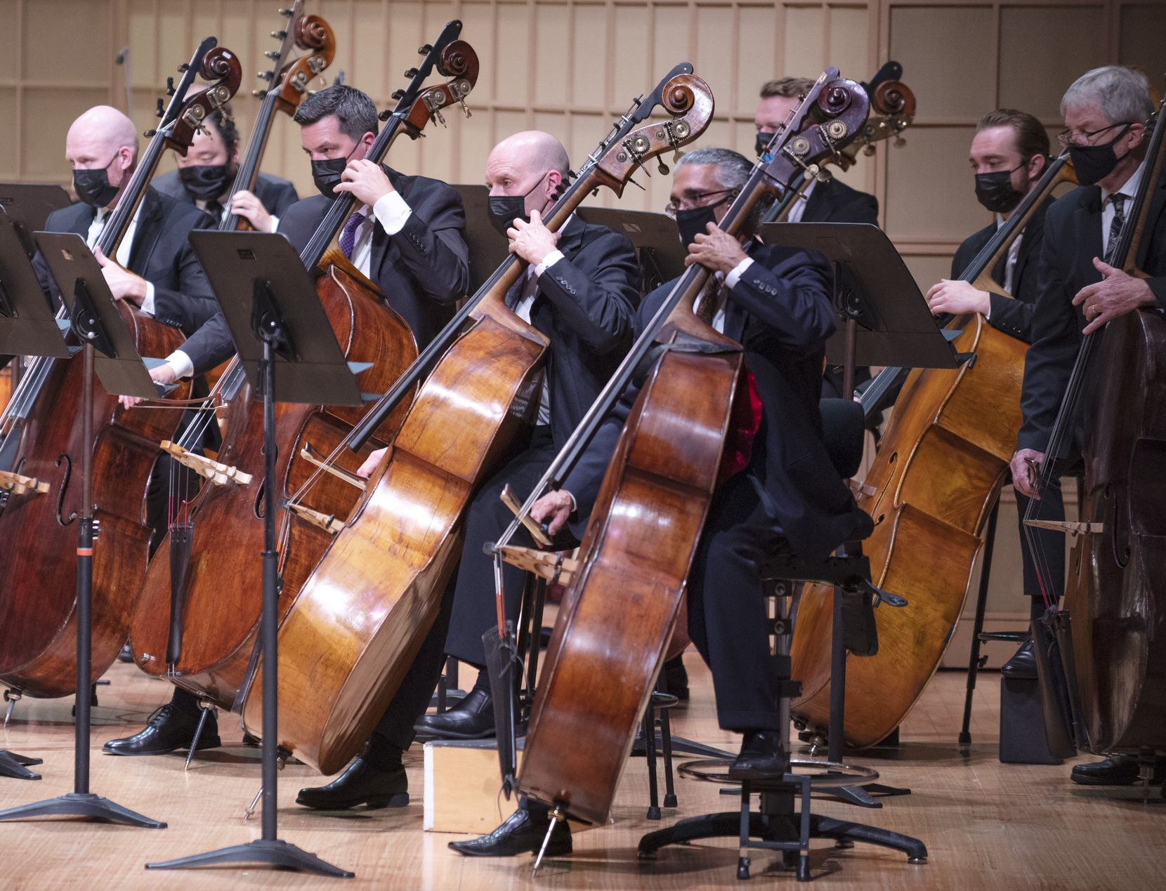 Bass players from the Dallas Symphony Orchestra and Metropolitan Opera Orchestra perform in Mahler's Symphony No.1 in D Major.