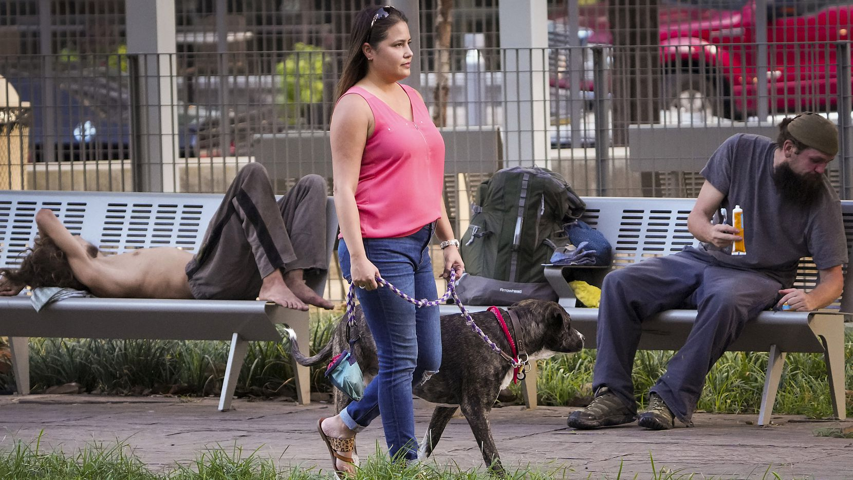 Sabrina Abney camina a su perro Harry por el parque Main Street Garden en el centro de Dallas, el martes 24 de agosto de 2021.