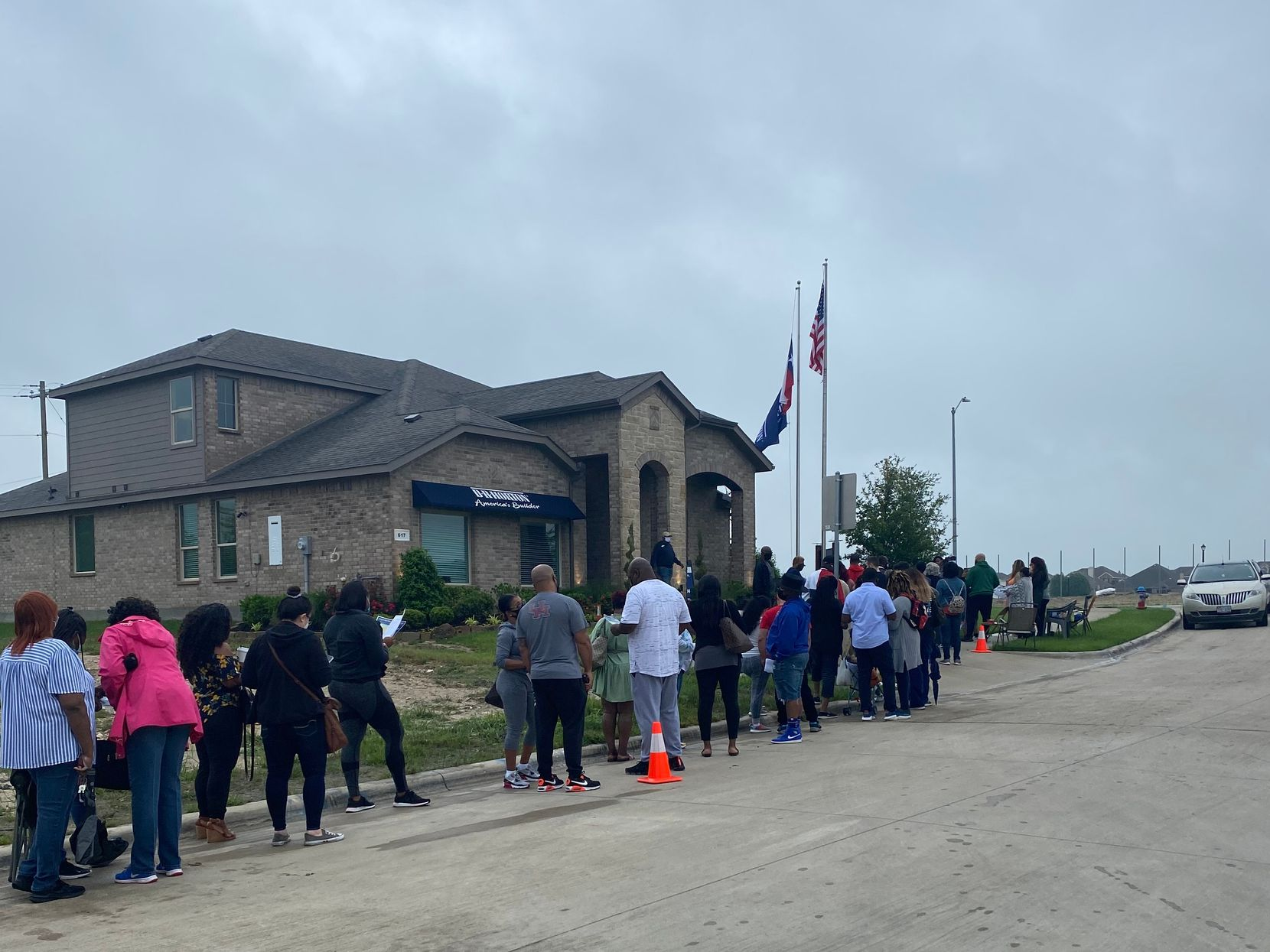 Potential homebuyers lined up for a D.R. Horton lottery in Glenn Heights on May 1. (Navjot Singh)