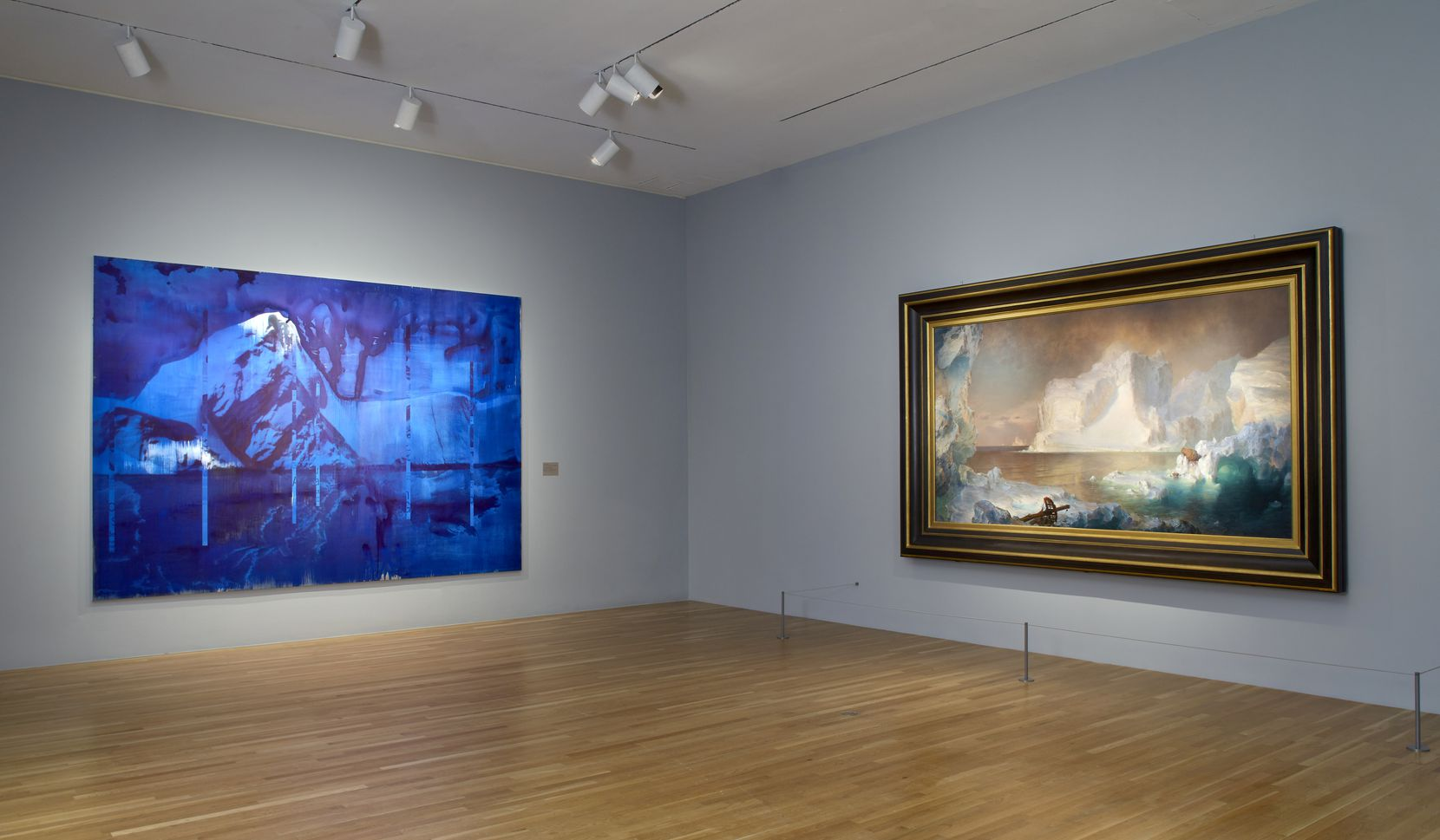 """The side-by-side pairing of Lorna Simpson's 2019 work """"Blue Turned Temporal"""" (left) with Frederic Edwin Church's beloved 1861 painting """"The Icebergs"""" is among the unlikely connections in the Dallas Museum of Art's """"To Be Determined"""" exhibition. Despite all the differences of style and historical context, the implacable force of nature comes through in both works."""