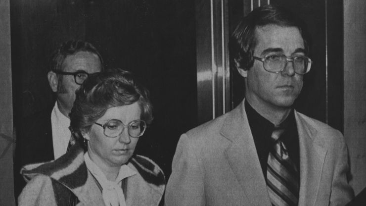 """In this 1980 file photo, Candace """"Candy"""" Montgomery and her husband, Pat, leave an elevator in the Collin County Courthouse in McKinney after her murder trial was turned over to the jury. Montgomery was found innocent of murdering her neighbor, Betty Gore, after pleading self-defense."""