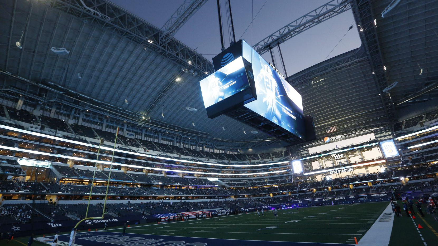 The pregame video plays as the roof is open before a game between the Dallas Cowboys and Arizona Cardinals at AT&T Stadium on Monday, October 19, 2020 in Arlington, Texas. The Dallas Cowboys lost to the Arizona Cardinals 38-10.