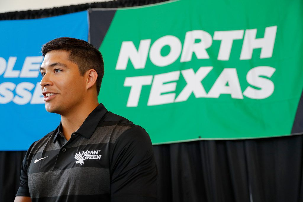 North Texas quarterback Mason Fine responds to questions in an interview during the Conference USA college football media day Wednesday, July 17, 2019, in Frisco, Texas. (AP Photo/Tony Gutierrez)