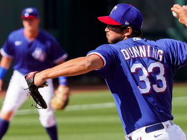 Texas Rangers pitcher Dane Dunning delivers during the seventh inning of a spring training game against the Los Angeles Dodgers at Surprise Stadium on Sunday, March 7, 2021, in Surprise, Ariz.