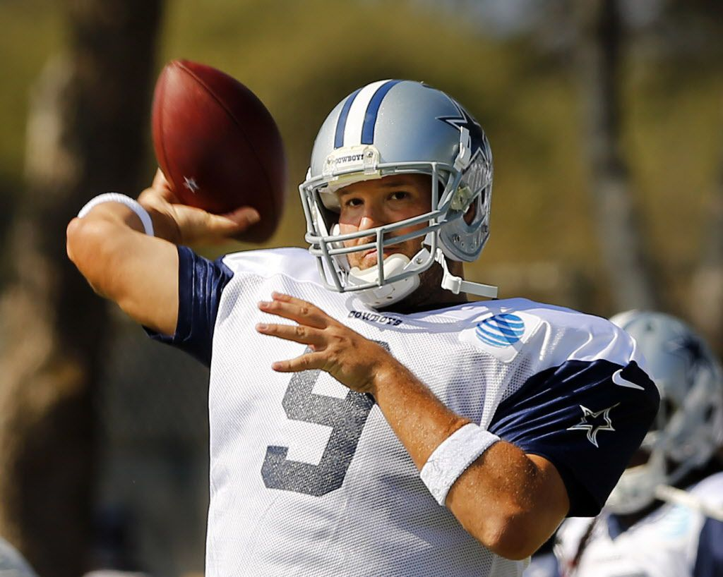 Dallas Cowboys quarterback Tony Romo (9) throws during afternoon practice at training camp in Oxnard, California, Monday, August 1, 2016. (Tom Fox/The Dallas Morning News)