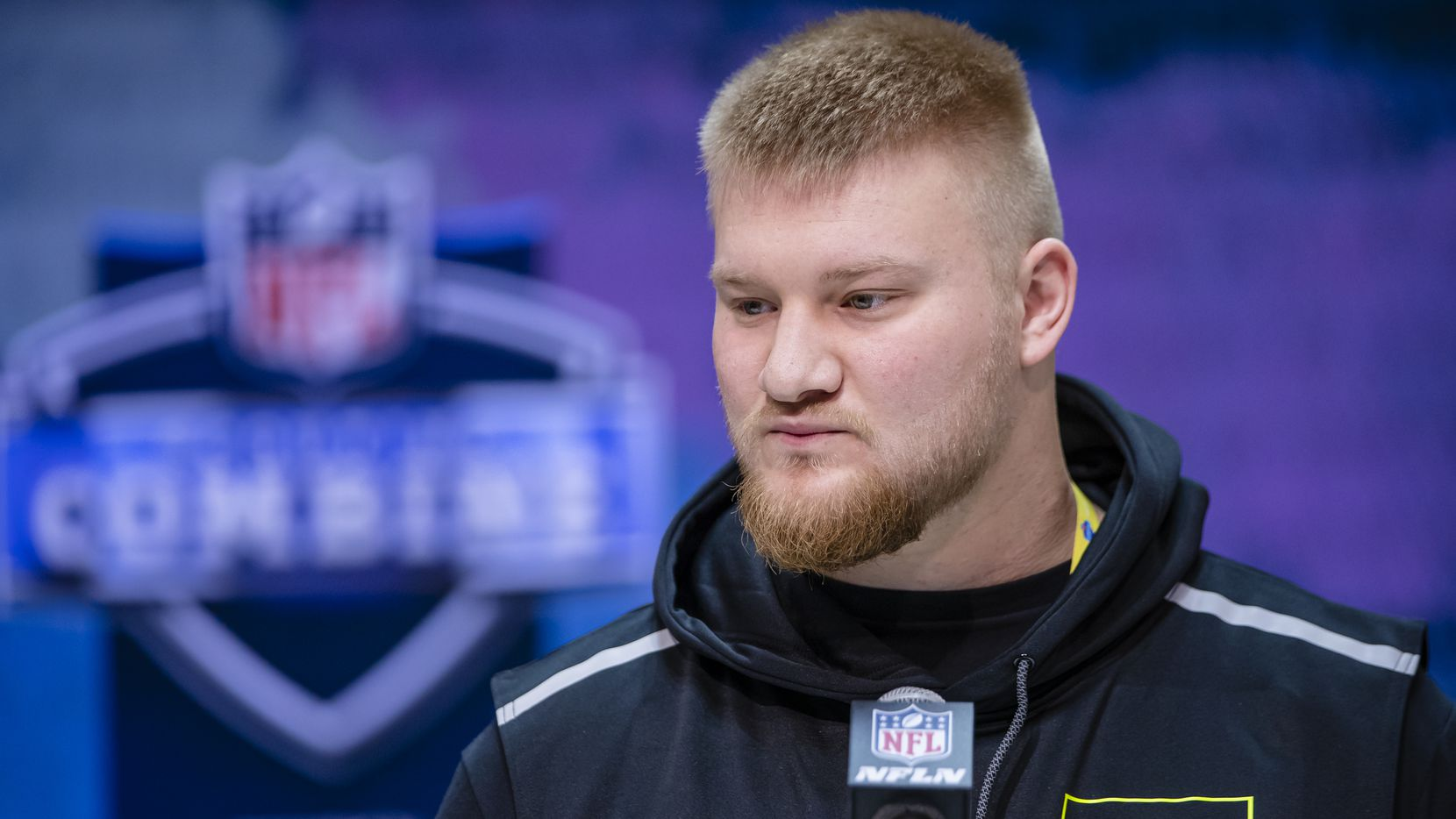INDIANAPOLIS, IN - FEBRUARY 26: Tyler Biadasz #OL06 of the Wisconsin Badgers speaks to the media at the Indiana Convention Center on February 26, 2020 in Indianapolis, Indiana.