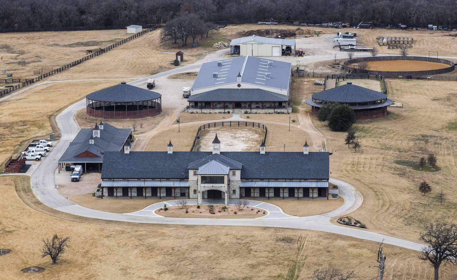 A ranch owned by ExxonMobil CEO Rex Tillerson as photographed from a helicopter on Wednesday, January 4, 2017 in Bartonville, Texas.