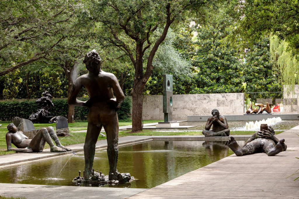 Nicole Eisenman's Sketches for a Fountain includes five bronze figures at the Nasher Sculpture Center, which is receiving new grant money.