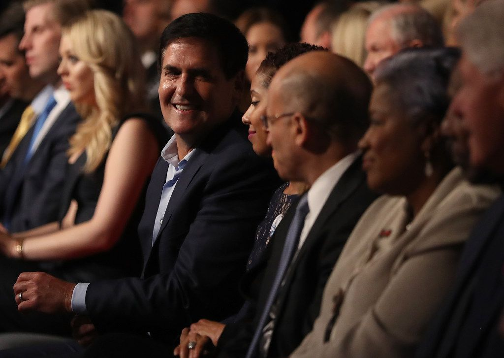 Mark Cuban (left) attended the first presidential debate with Democratic presidential nominee Hillary Clinton and Republican presidential nominee Donald Trump at Hofstra University on Sept. 26.