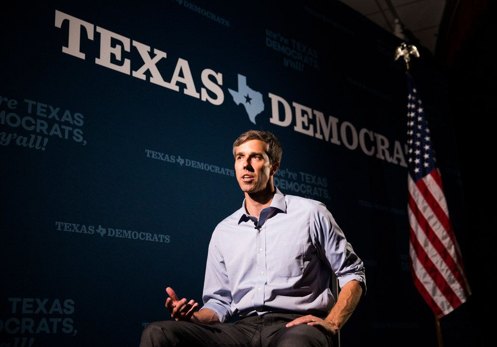 U.S. Representative Beto O'Rourke is interviewed by reporters during the Texas Democratic Convention on Friday, June 22, 2018 at the Fort Worth Convention Center in Fort Worth. (Ashley Landis/The Dallas Morning News)