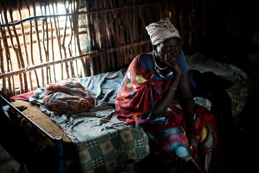 Tafisa Nyattie who collects firewood for a living, at a refugee camp outside Juba, South Sudan, March 22, 2018.