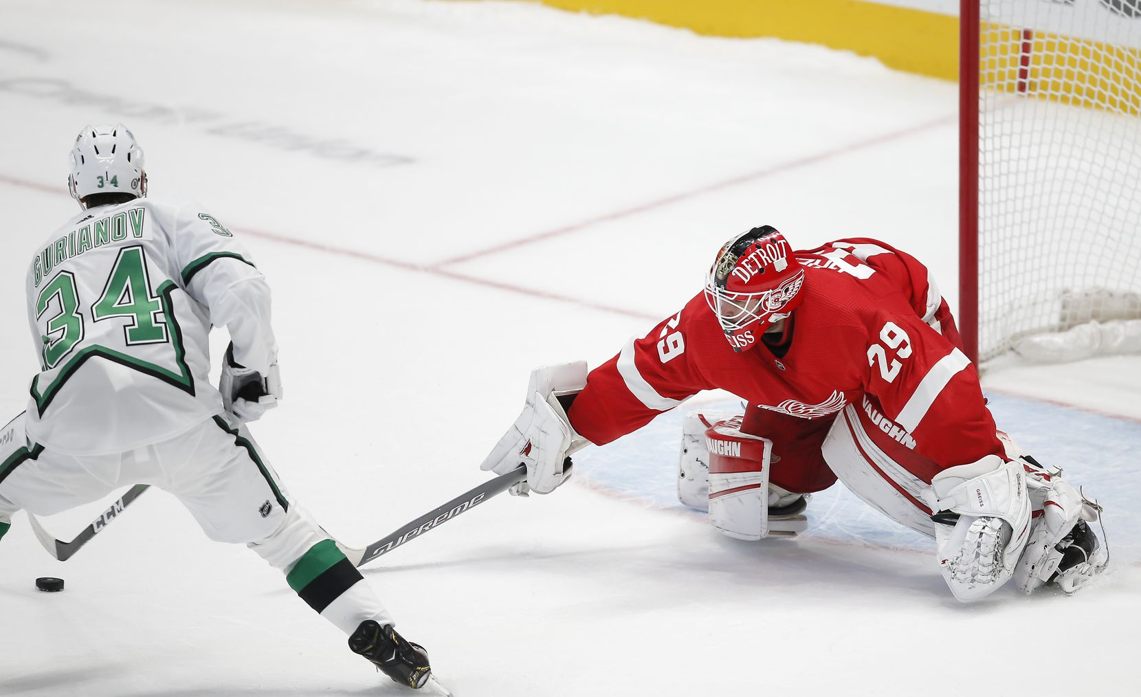 Dallas Stars forward Denis Gurianov (34) shoots the puck past Detroit Red Wings goaltender Thomas Greiss (29) in a shootout of an NHL hockey game in Dallas, Monday, April 19, 2021. Dallas won 3-2 in a shootout. (Brandon Wade/Special Contributor)
