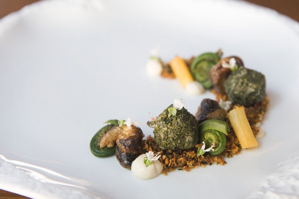 Snails with salsify, Granny Smith apple, fiddlehead fern, kale, carrot
