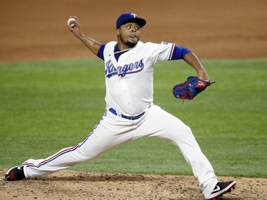 Texas Rangers relief pitcher Edinson Volquez (36) throws to the Arizona Diamondbacks during the ninth inning at Globe Life Field in Arlington, Texas, Tuesday, July 28, 2020.