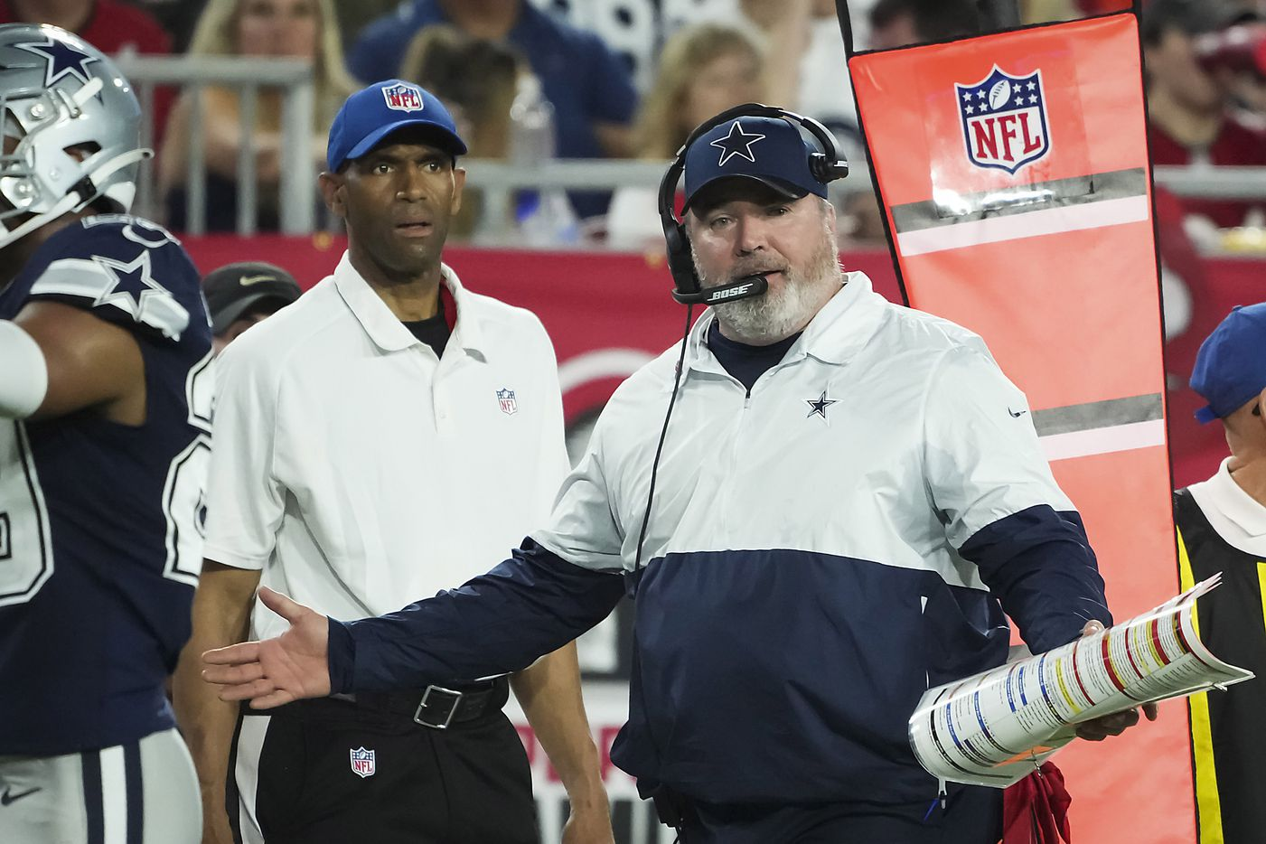 Dallas Cowboys head coach Mike McCarthy argues a call during the first half of an NFL football game against the Tampa Bay Buccaneers at Raymond James Stadium on Thursday, Sept. 9, 2021, in Tampa, Fla. (Smiley N. Pool/The Dallas Morning News)