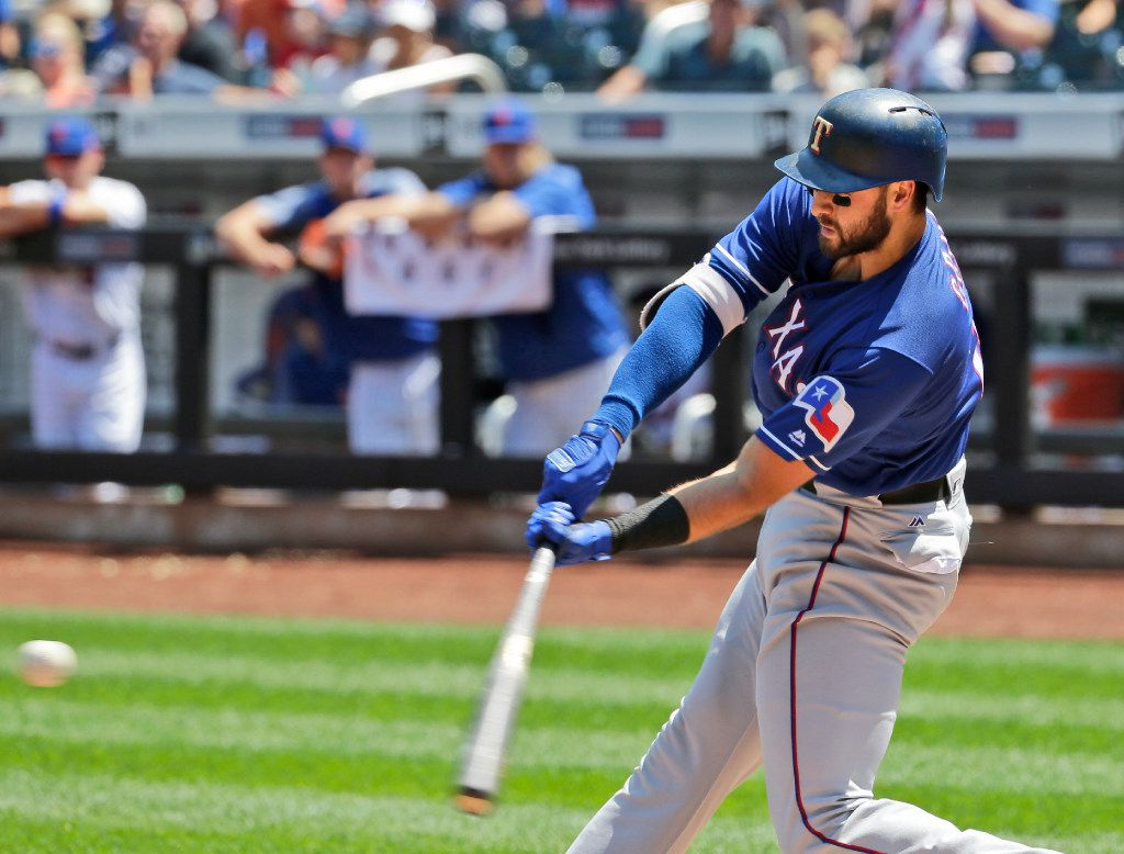 Texas Rangers' Joey Gallo hits a two-run home run during the first inning of a baseball game against the New York Mets at Citi Field, Wednesday, Aug. 9, 2017, in New York. (AP Photo/Seth Wenig)