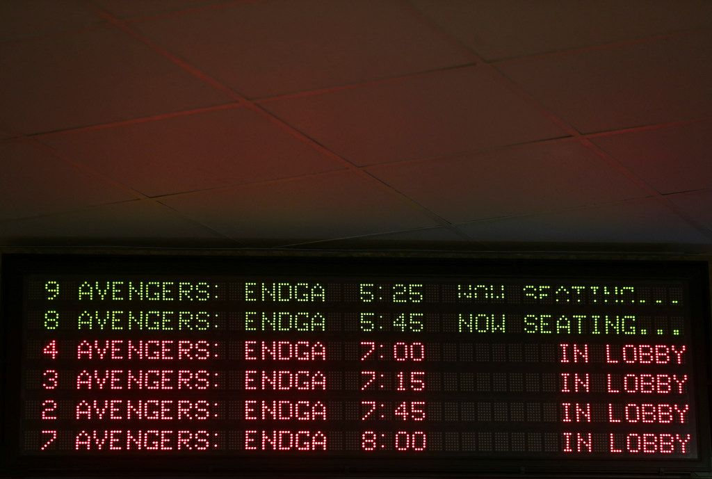 Movie times for Avengers: Endgame are seen at Cinemark West Plano and XD theatre on Friday in Frisco.