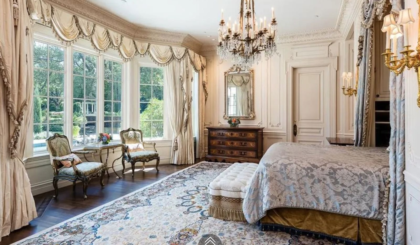 The French style house has five bedrooms.
