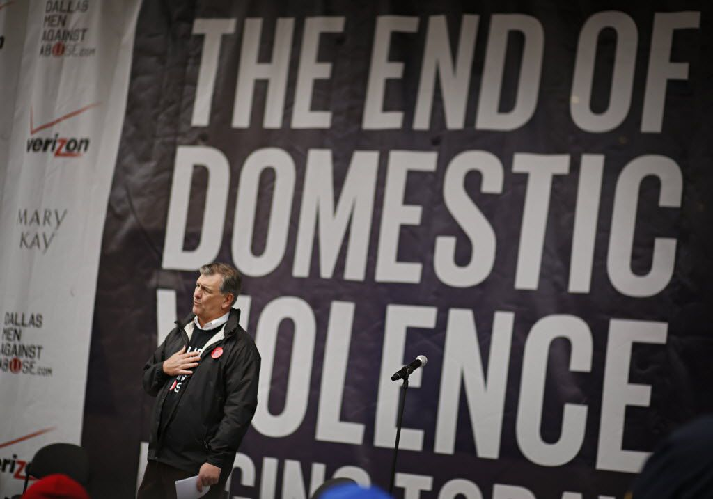 """Dallas  Mayor Mike Rawlings addresses the crowd during the """"Men Against Abuse Rally"""" in March 2013 at Dallas City Hall . The rally, which was organized by the mayor, drew hundreds of people from around the area and featured professional athletes, religious leaders and other notable speakers. (G.J. McCarthy/The Dallas Morning News)"""