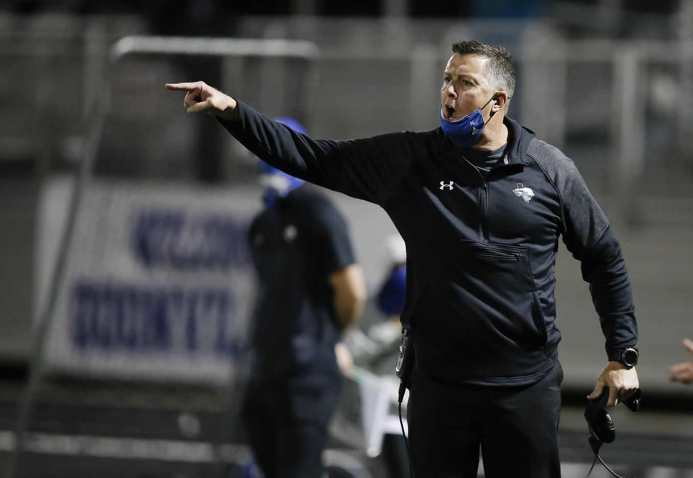 North Forney head coach Randy Jackson shouts instructions to his players during the second half of a high school playoff football game against Ennis in Forney, Thursday, November 19, 2020. Ennis won 38-14. (Brandon Wade/Special Contributor)