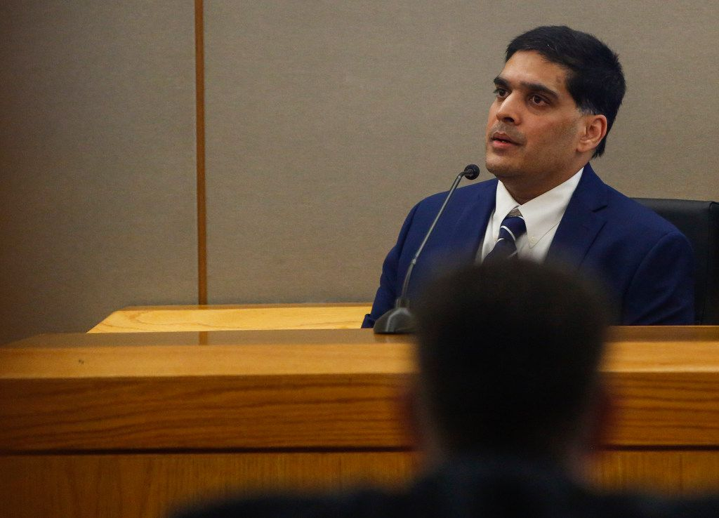 Wesley Mathews testifies in the 282nd judicial district court at the Frank Crowley Courthouse on Tuesday, June 25, 2019 in Dallas. (Ryan Michalesko/The Dallas Morning News)