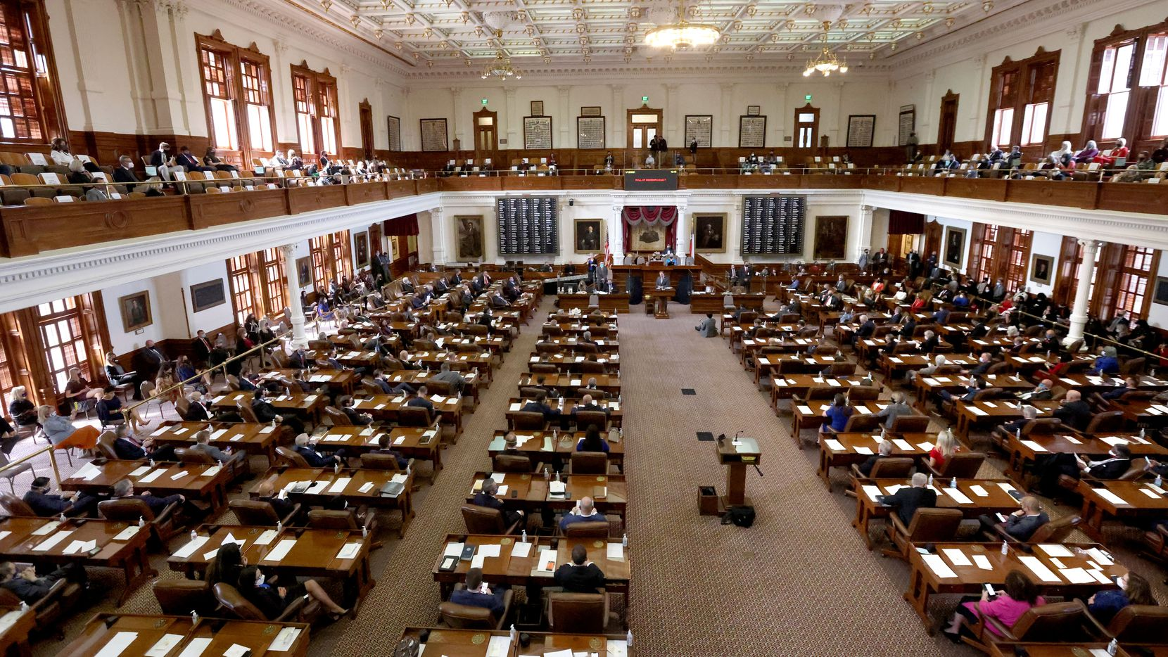 The 87th Texas Legislature is called into session at the Texas Capitol building in Austin on Jan. 12, 2021. (Lynda M. González/The Dallas Morning News)