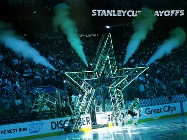 Dallas Stars goaltender Ben Bishop (30) takes the ice to face the St. Louis Blues during player introductions at the American Airlines Center in Dallas, Sunday, May 5, 2019. The teams were playing Western Conference Second Round Game 6 of the 2019 NHL Stanley Cup Playoffs.