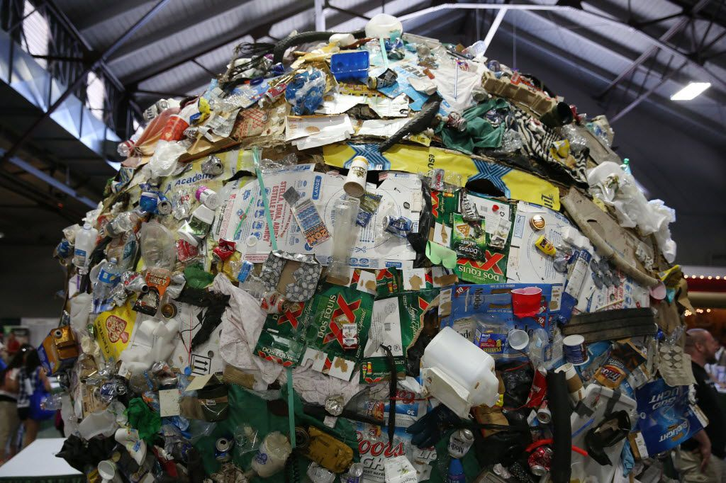 A ball of litter is on display as part of the Don't mess with Texas anti-litter campaign during Earth Day Texas at Fair Park in Dallas in 2016. The event had 771 environmental nonprofit groups, government agencies, business and academic institutions.