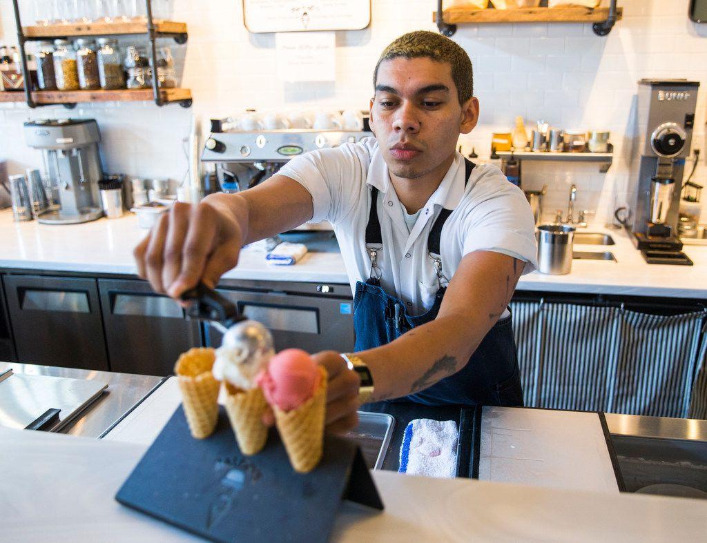 Chef Aldo Sandoval serves a flight of ice creams at Baldo's Ice Cream and Coffee.
