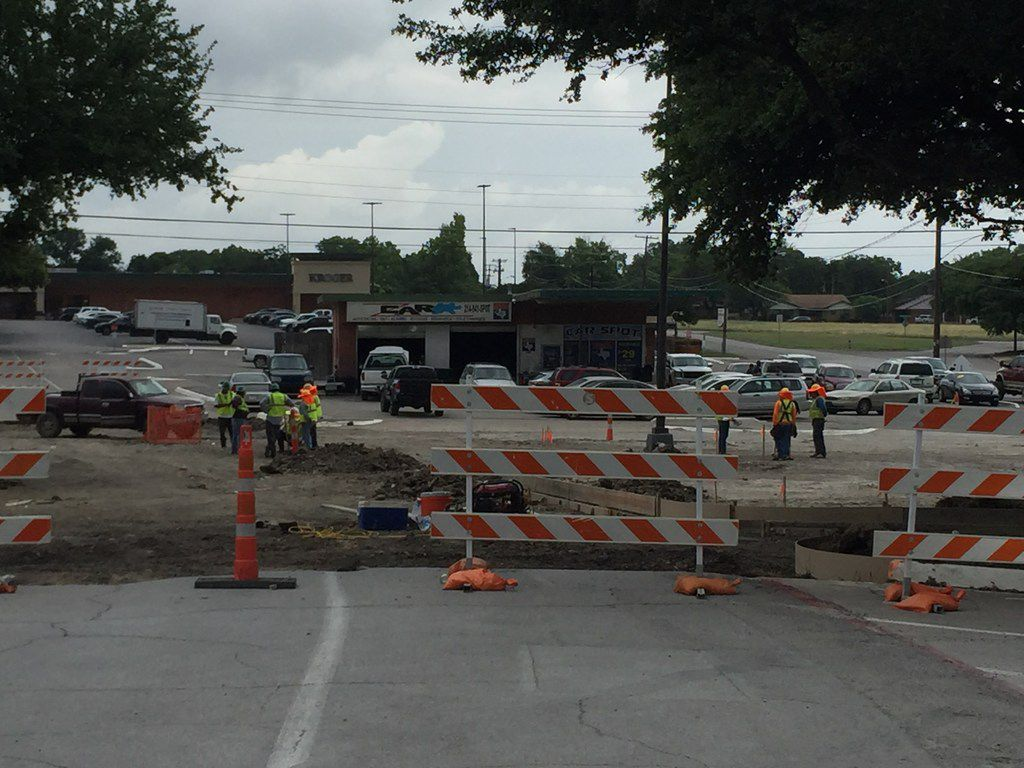 Flood control and storm drainage improvements being worked on at Wynnewood Village in Oak Cliff on May 29, 2019. The Dallas City Council agreed to make the improvements and voters approved the work in a 2018 bond package. Brixmor Property Group is spending $21 million to update the shopping center.