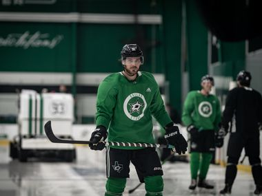 Tyler Seguin (91) is seen as the Dallas Stars opened postseason training camp at the Comerica Center, Monday July 13, 2020 in Frisco, Texas. The Dallas team was together in the same building for the first time Monday since the NHL went on hiatus due to the coronavirus pandemic.
