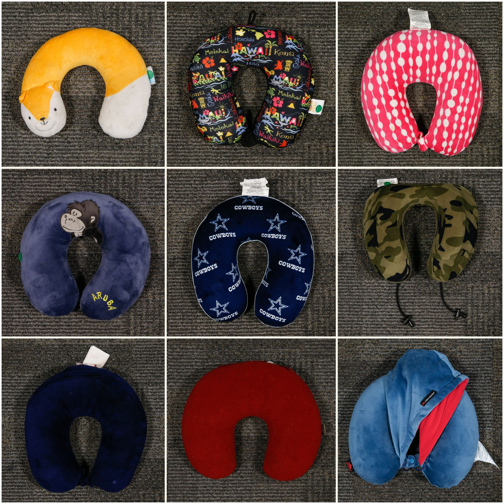 Neck pillows in many colors have turned up at Dallas Love Field's lost and found area.